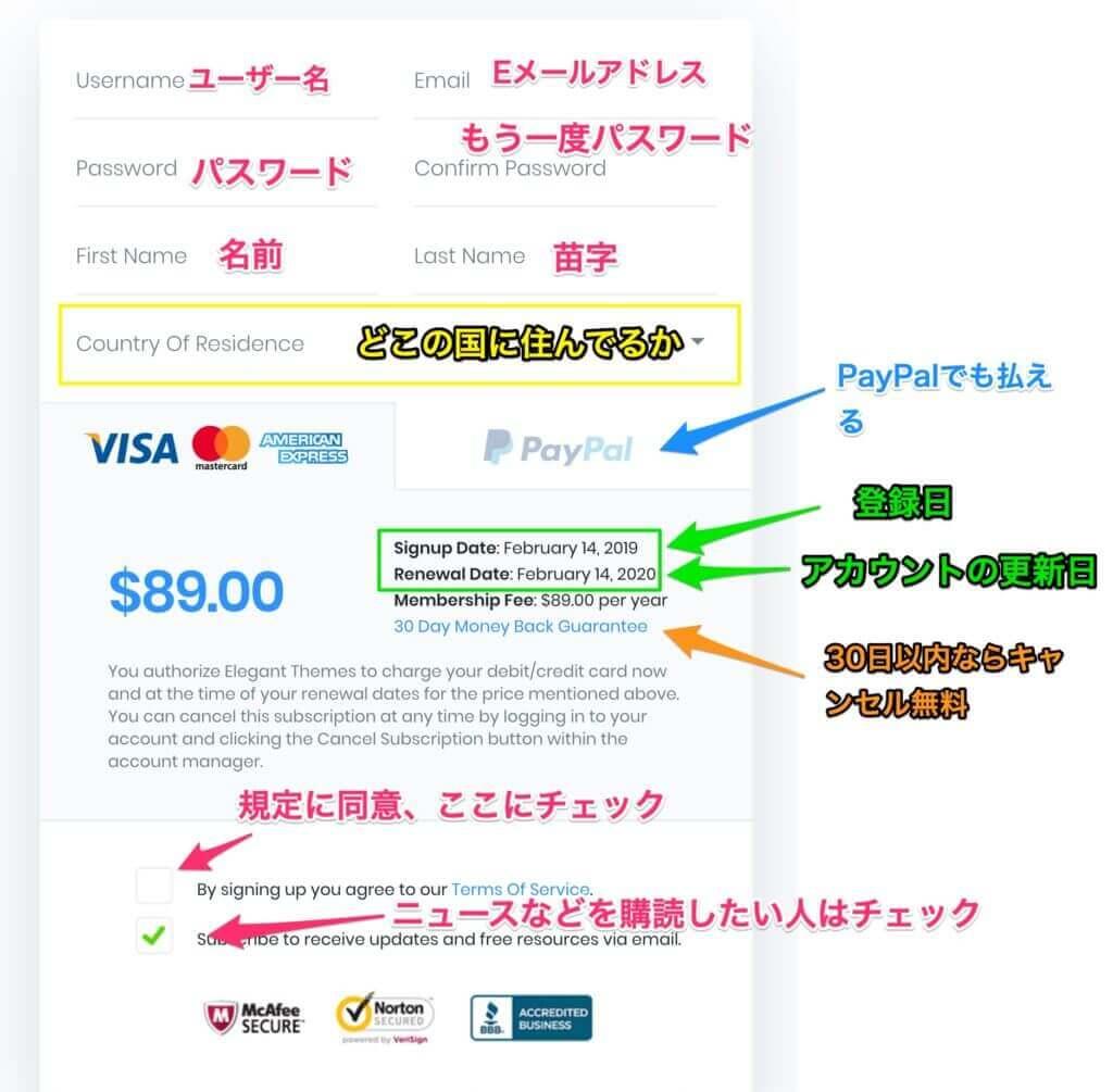 Diviを購入するときのクレジットカードの画面