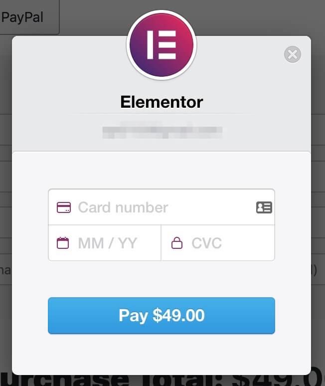Elementor Pro購入、カード情報入力