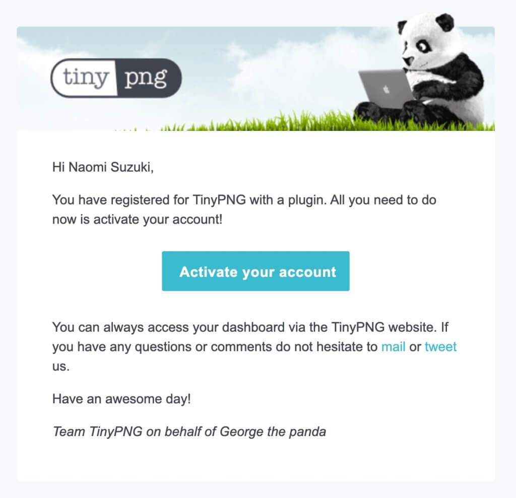 Tinypngから届いたメール