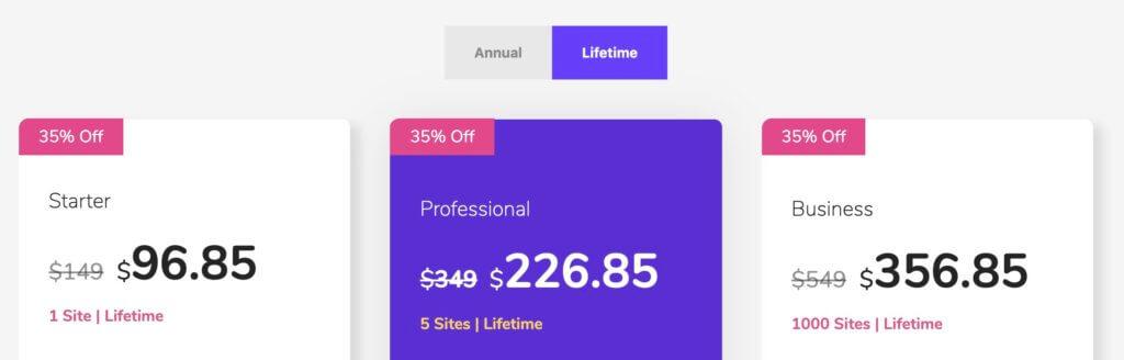 Happy Elementor Addons Proの値段とプランの違い、生涯プラン