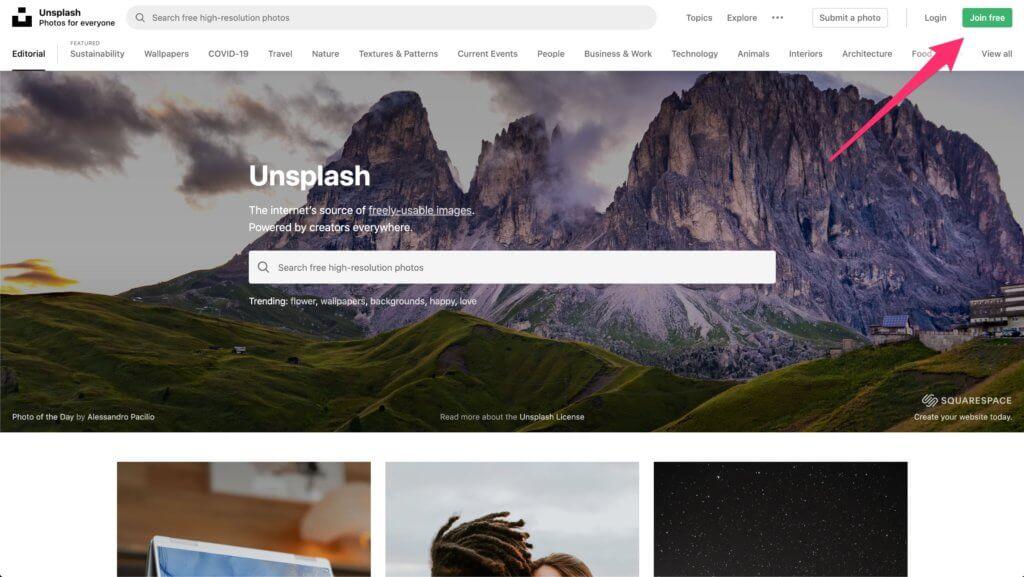 unsplash.comのホーム