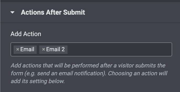 Elementorのフォームで送信者にメールを送る