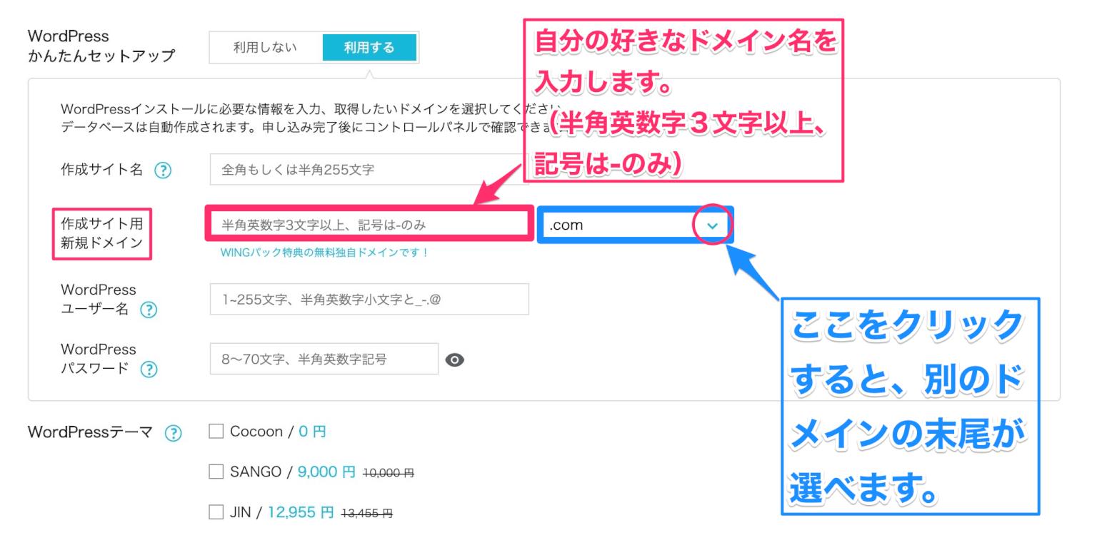 作成サイト用新規ドメインの説明