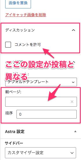 編集タブで固定ページと投稿で異なる部分