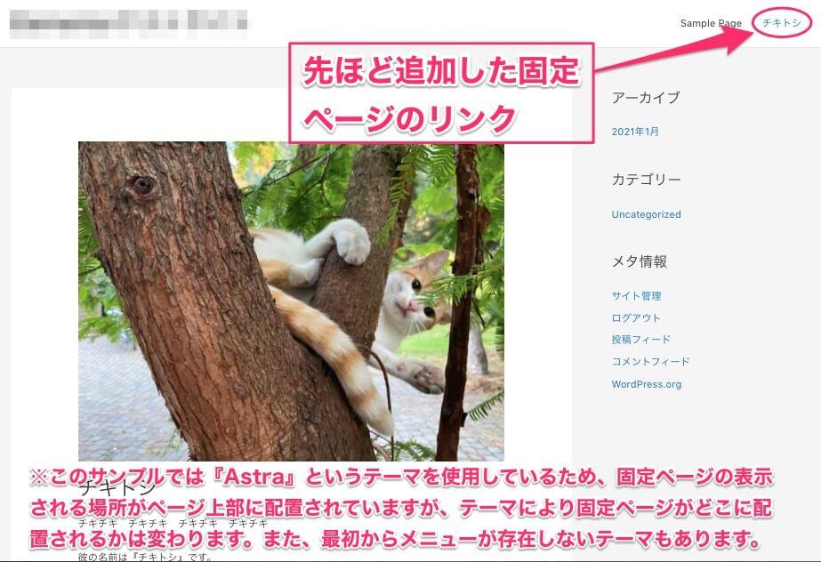 固定ページがサイトに反映された時のサンプル画像