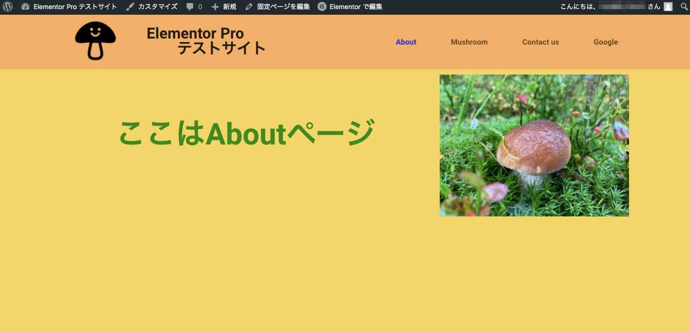Aboutページの表示画面