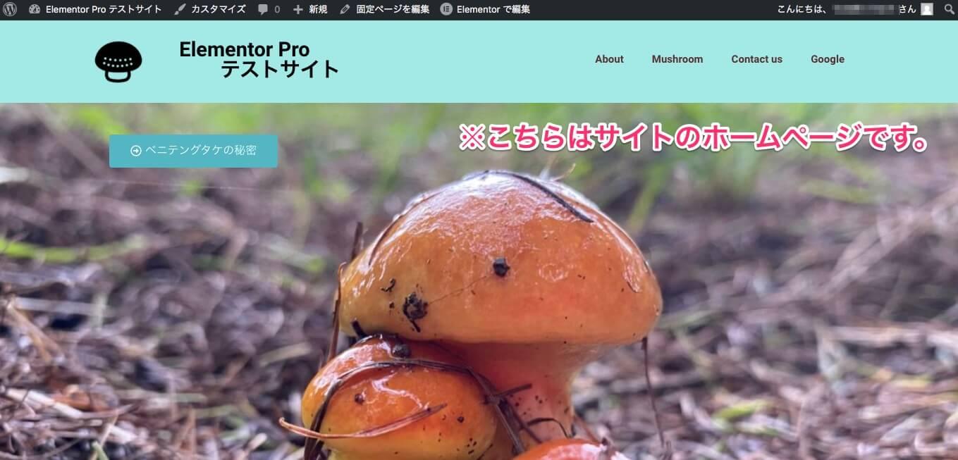 ヘッダー変更後のホームページの表示画面