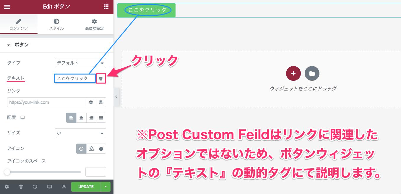 ボタンウィジェットのコンテンツ編集のテキストの動的タグでPost Custon Feildの使用例