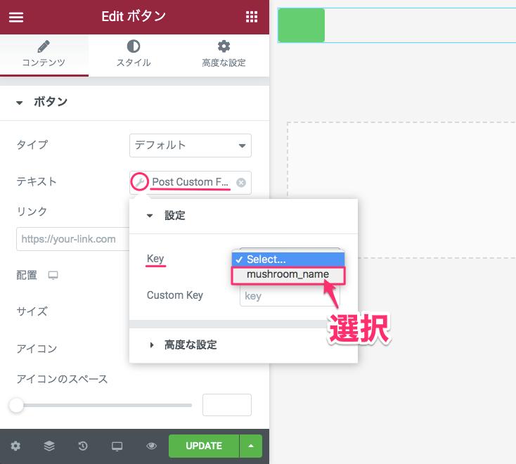Post Custom Feildの設定・Keyの選択