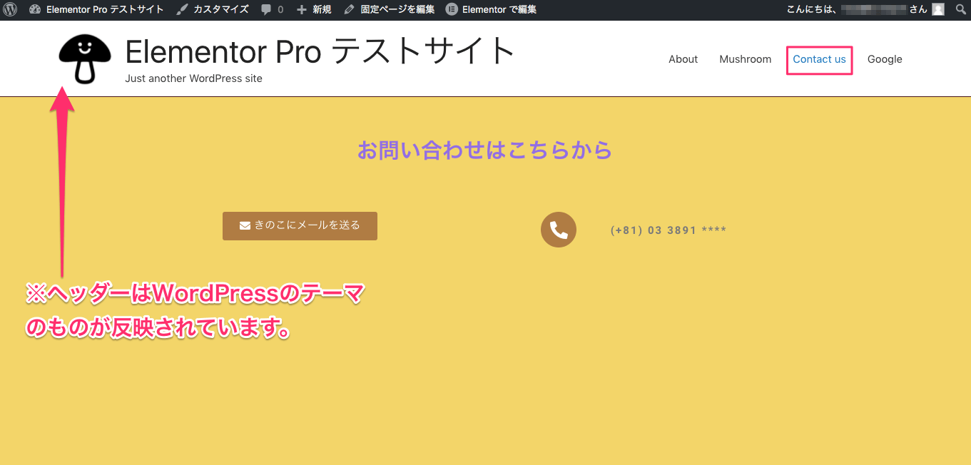 Display Conditions編集後の『Contact us』ページ表示画面