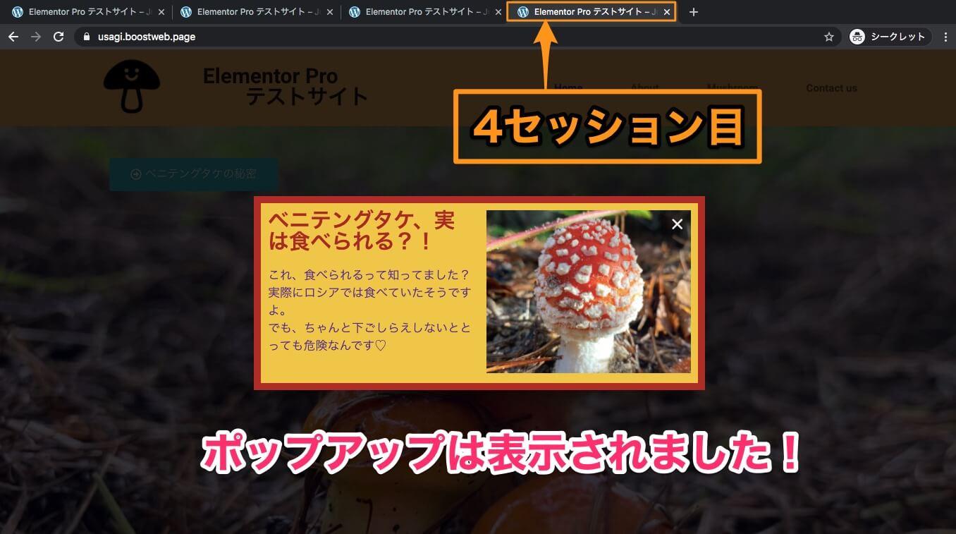 4回目のセッションの表示画面