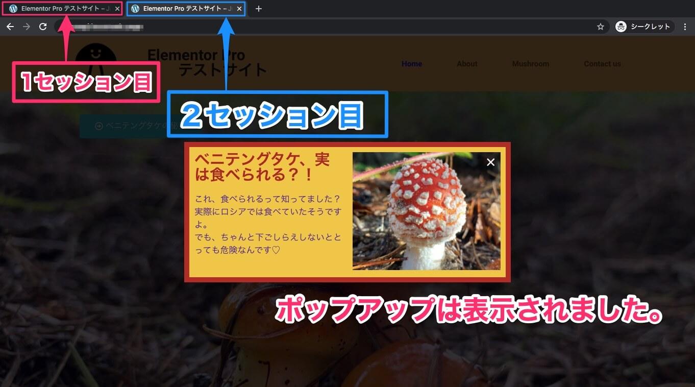 2回目のセッションの表示画面