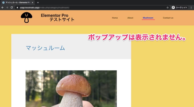 Mushroomページの表示画面