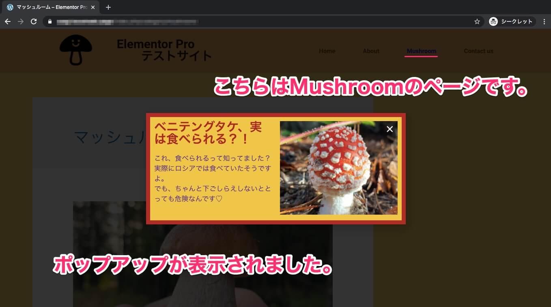Homeページから来たMushroomページの表示画面