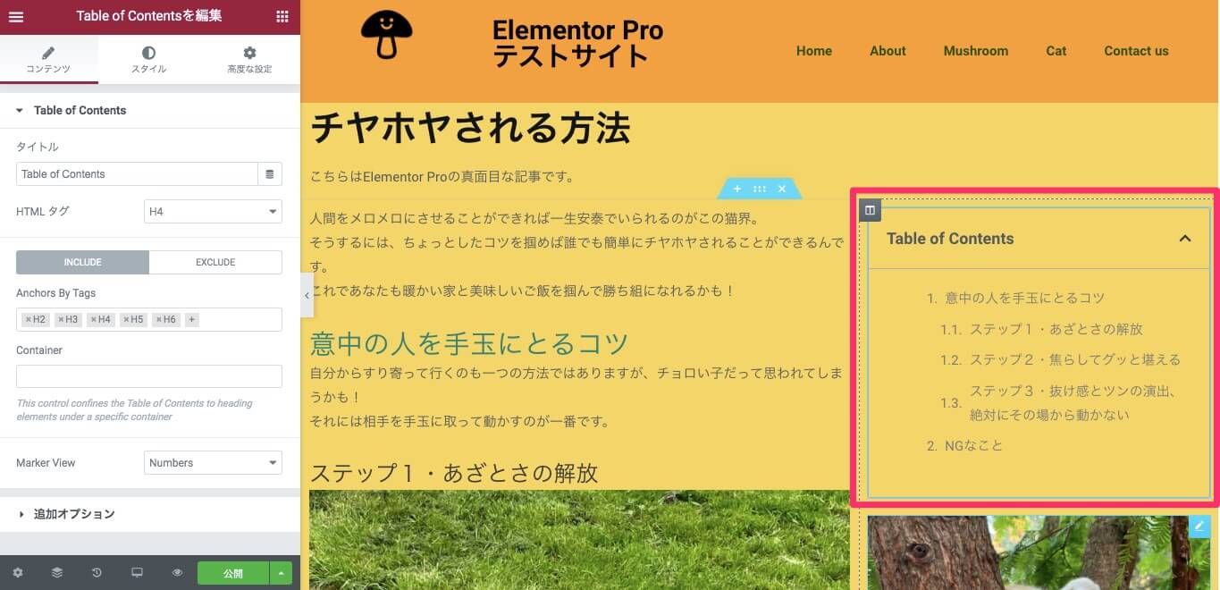 Table of Contentsウィジェット挿入後のプレビュー表示画面