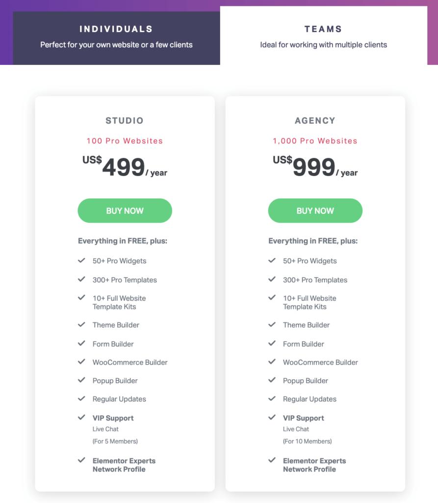 Elementor ProのTeamsプランの値段のリスト