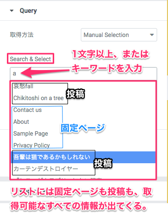 Search&Selectの選択可能なページの一覧