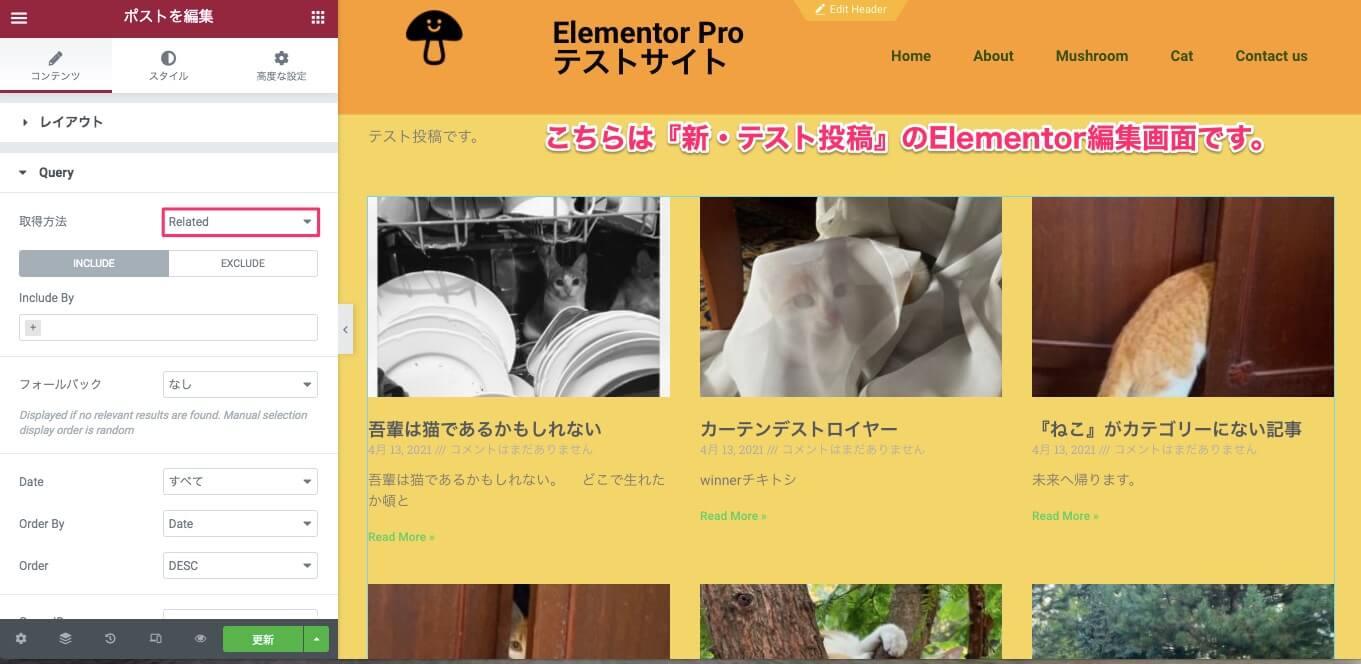新・テスト投稿の記事のElementor編集画面