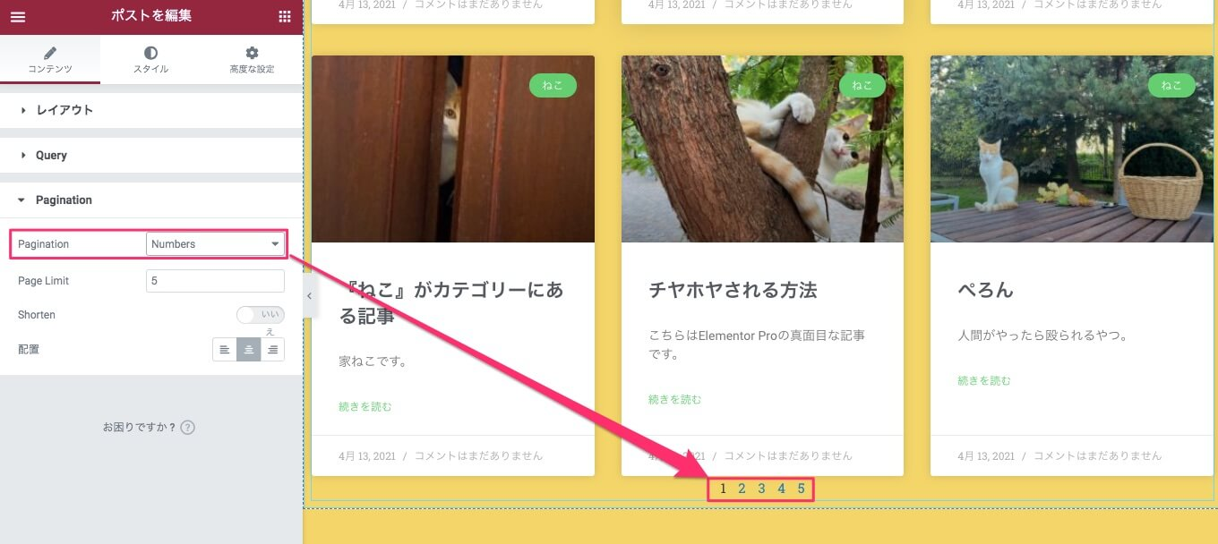 Pagination・Numbersの説明
