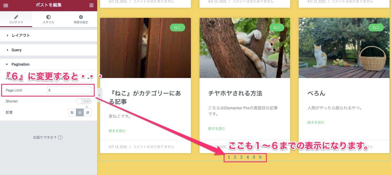 Page Limitを『6』に変更した時の表示画面