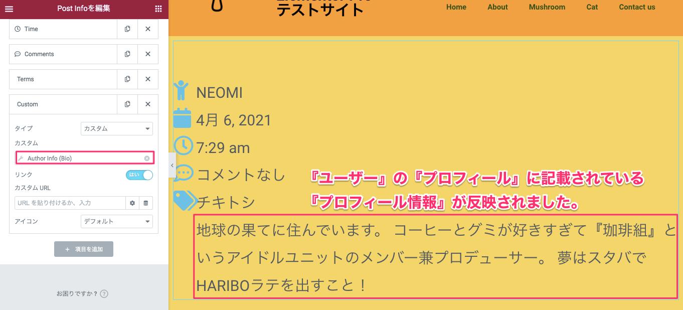 Author Info挿入後の表示画面