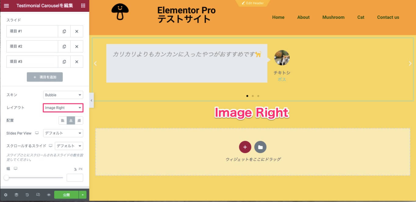 Image RIghtを選択時の表示画面