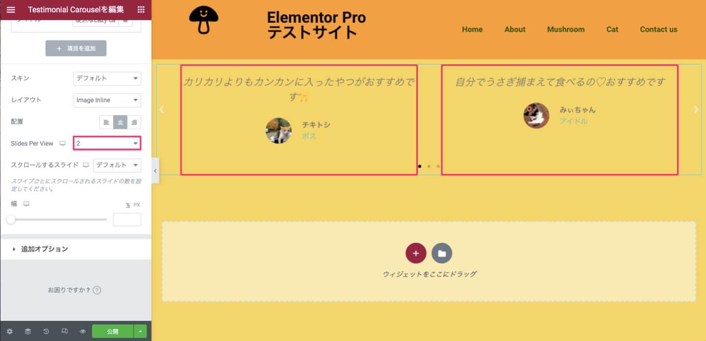 Slides Per Viewを『2』に設定した時の表示画面