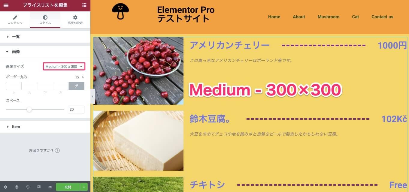 画像サイズをMedium-300×300にした時の表示画面