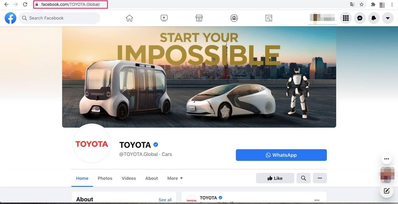 TOYOTAのFacebookページ